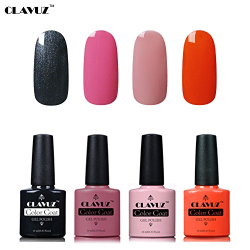 Set de Vernis à Ongles Semi-Permanent UV LED Soakoff 4pcs Kit Manucure 10ml de Clavuz-KIT 013