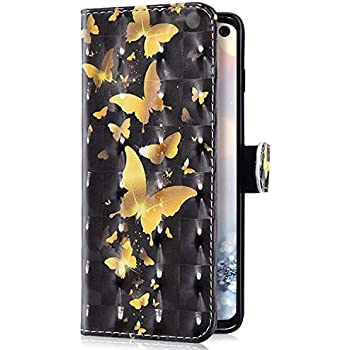 Uposao Kompatibel mit Samsung Galaxy S10e H/ülle Handyh/ülle Bunt Retro Muster Klapph/ülle Flip Case Cover Schutzh/ülle Lederh/ülle Brieftasche Leder Tasche Kartenf/ächer Magnet,Schwarz Tiger