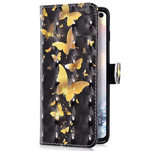 Uposao Kompatibel mit MOTO G7 / G7 Plus Handyhülle Bling Glitzer 3D Bunt Muster Schutzhülle Glänzend Cover Tasche Leder Wallet Hülle Flip Case Handytasche Kartenfächer,Gold Schmetterling