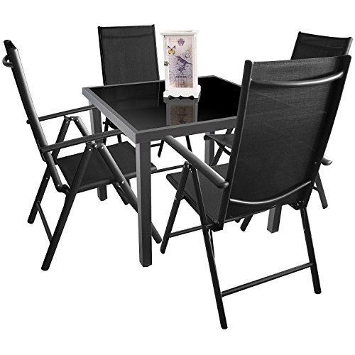 Multistore 2002 5tlg. Gartengarnitur, Aluminium-Glastisch 90x90cm + 4X Hochlehner, 7-Fach verstellbar, 2x2 Textilenbespannung, klappbar/Sitzgruppe Sitzgarnitur Terrassenmöbel Gartenmöbel