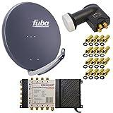 8 Teilnehmer Satelliten Anlage Antenne Fuba 85x85 cm Alu Anthrazit DAA 850 A + PremiumX Multischalter 5/8 Multiswitch Matrix 5-8 mit Netzteil für 8 Teilnehmer + PremiumX Quattro LNB + 16x F-Stecker Switch Sat Digital FULLHD 3D UltraHD