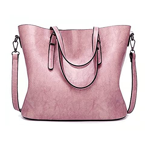 GoodPro Women Handbags Fashion Handbags for Women Simple PU Leather Shoulder Bags Messenger Tote Bags 285 (Pink)