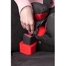 2 unidades Soporte para la hebilla del cinturón de seguridad del coche de Wididi Buckle Up - Silicona blanda - Fácil Instalación - Mantiene el receptor del cinturón de seguridad en posición vertical - Facilita que niños, adultos y ancianos puedan ponerse el cinturón - Rojo