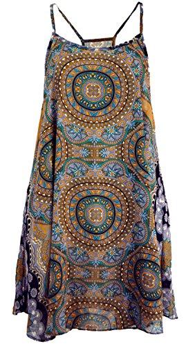 Guru-Shop Boho Dashiki Minikleid, Trägerkleid, Strandkleid, Tank Top, Damen, Goldgelb, Synthetisch, Size:38, Kurze Kleider Alternative Bekleidung