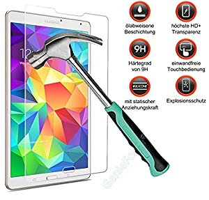 Gforce75® ?Premium Gehärtetes HD+ Panzerglas für Samsung Galaxy Tab S 8.4 T700 T705 . Displayschutz . Panzerfolie Sicherheitsglas . Tempered Protection Screen Glass . 0,3mm Hartglas . 9H Ultra Hart . 2.5D round edge NEU