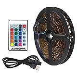 CALISTOUS 5M 5V 5050 60SMD/M RGB LED Strip Lamp Bar TV Back Lighting Kit USB Remote Control Black