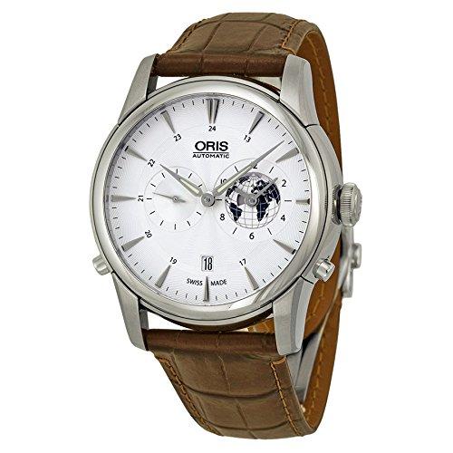 Oris Artelier GMT Automatik Silber Weiß Zifferblatt Leder braun Herren-Armbanduhr 690–7690–4081ls