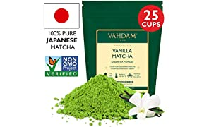 VAHDAM, té verde de vainilla matcha | Polvo de té Matcha 100% PURO de origen japonés | 137x ANTIOXIDANTES | Té verde para bajar de peso y desintoxicación diaria | SUPER ALIMENTO de Japón