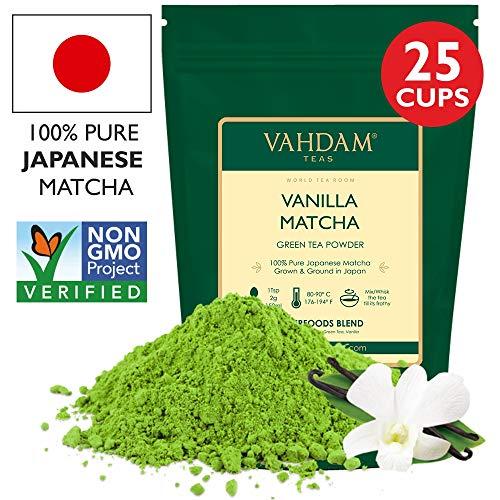 VAHDAM, VANILLA + Matcha Green Tea Powder - Brew Delicious Vanilla Matcha Latte | Powerful SUPERFOODS Blend | Japanese Matcha Powder with 100% Natural Vanilla | 50g