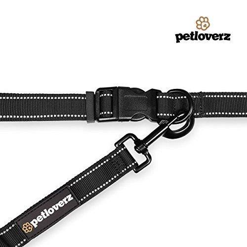 Hunde Joggingleine/Laufleine mit verstellbarem Hüftgurt | Leine zum handfreien Laufen/Fahrrad fahren | elastische Bungee Leine mit Reflektoren für Hunde bis 60kg | zusätzliche Tasche für Handy und Schlüssel etc. | Nylon | schwarz | super zum Laufen, Joggen, Wandern und Gassi gehen – PETLOVERZ® - 4