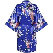 Avidlove Pijama Lencería Kimono Corto de Satén de Estampado Floral ...