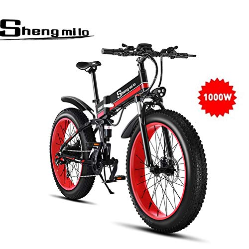 Shengmilo 1000W Fat Vélo de Montagne électrique 26 Pouces E-Bike 48V 13Ah (e-Bike (Batterie Comprend))