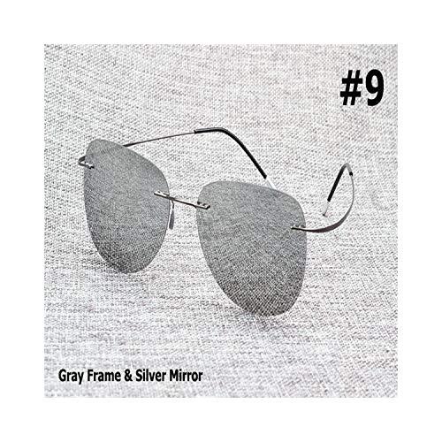 Sport-Sonnenbrillen, Vintage Sonnenbrillen, NEW Fashion Driving Ultralight Titanium Polarisiert Sunglasses Brand Design Rimless Aviation Sun Glasses Oculos De Sol 9