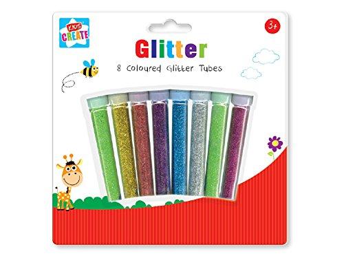 Anker Kids Create - Lot de 8 tubes de paillettes en plastique pour loisirs et créations, couleurs assorties, 29,7x21x2cm