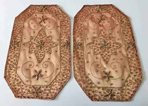 Daniele farinella coppia di centrotavola ottagonali di artigianato indiano,color albicocca ricamati a mano con passamaneria,cm 29 x 51