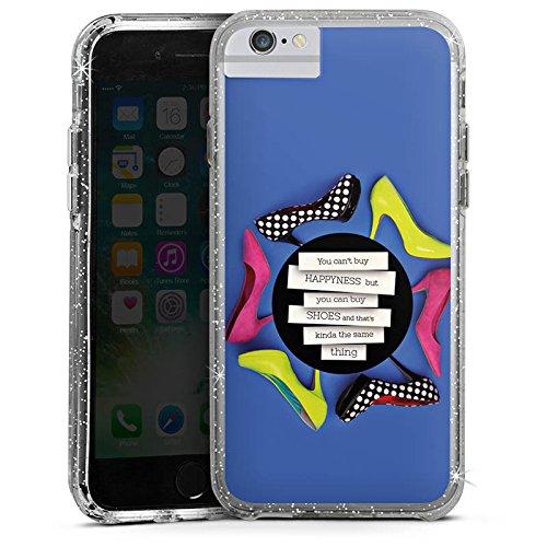 Apple iPhone 7 Plus Bumper Hülle Bumper Case Glitzer Hülle Schuhe Shoes Schuhtick Bumper Case Glitzer silber