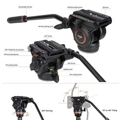 Andoer JY0506 Monopiede con Testina Fluida Monopiede Professionale Alluminio Lega per Videocamera ILDC DSLR Camcorder DV Fotocamera Tascabile Capacit/à Massima di Carico 4 kg 1 Borsa Nylon