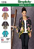 """Simplicity 1318 Size A """"Misses' Kimono Jackets"""" Sewing Pattern"""