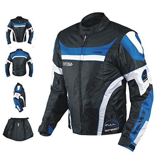 Giacca-Moto-Manica-Staccabile-Tessuto-Protezioni-CE-Sfoderabile-Gilet-Blu-2XL