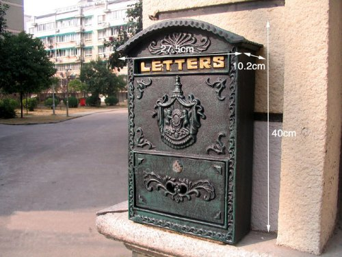 Briefkasten, Wand-Briefkasten im viktorianischen Stil aus Gusseisen, Gewicht 5,44 kg (Verde Grün mit Wappen)