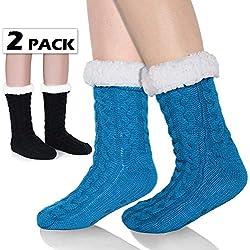 Tacobear Mujeres Gruesos lana calcetines de piso casa abrigados calcetines de mujeres niñas antideslizantes calcetines de alfombra Zapatillas de casa para Mujer (azul)