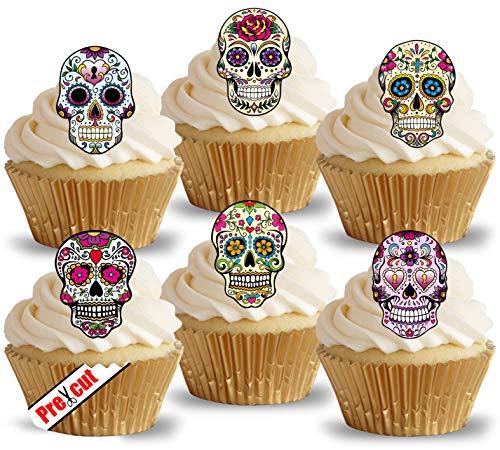 vorgeschnittenen Calavera Skulls essbarem Reispapier/Waffel Papier Cupcake Kuchen Topper Halloween Gothic Geburtstag Party Dekorationen (Halloween Essbare Kuchen Topper)