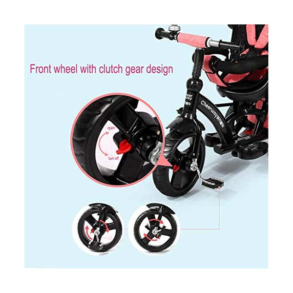 GSDZSY - Baby Tricycle Trike Stroller First Bike,3 In1 With Adjustable Push Handle Bar, 1.5-6 Years Old,Black GSDZSY  6