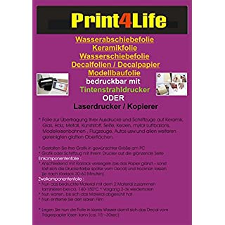 2 Blatt Inkjet Tintenstrahl Wasserschiebefolie Decal Folie Keramikfolie Transfer Papier DIN A4 klar/transparent Singlelayer