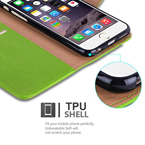 Cadorabo - Luxury Etui Housse pour Apple iPhone 6 / 6S Portefeuille (stand horizontale) en MARRON CAPPUCINO Vert