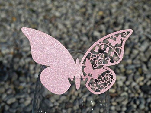 50pz farfalle Segnaposto Segnabicchiere VARI COLORI bomboniera matrimonio segnatavolo CARTA PERLATA (ROSA QUARZO)