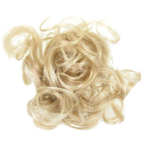 Tutti i colori disponibili! elastico per capelli rivestito con extension a ciocche ricce per creare chignon alto o biondo chiaro