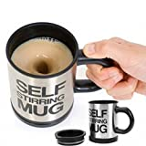 eShop24x7 Battery Operated Auto Mixing Cup Stainless Plain Lazy Self Stirring Mug for Tea Coffee Soup