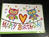 Geburtstagskarte mit Eulen Happy Birthday