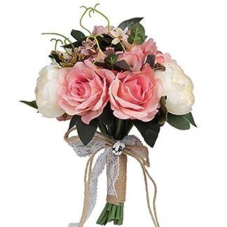 Famibay Ramo de Rosas Artificiales de 18 Cabezas, 2 Ramos de Novia, para decoración de Bodas, Fiestas y el hogar, Seda sintética, 4-Pink with White, 1 Bouquet