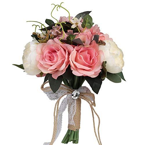 Famibay Künstlich Braut Blumen Strauß Die Seide Pfingstrose Blume Strauß Mischen Sie Blumen für Zuhause Hochzeit Dekoration