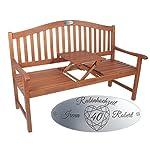 Hochzeitsbank mit Gravur mit Tisch Braun - formschöne Gartenbank zur Hochzeit - personalisierte gravierte Holzbank aus Eukalyptus-Holz als Hochzeitsgeschenk 7
