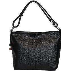 LucieElle Sac Femme Cuir Grainé Italien porté bandoulière porté épaule 'Rafaela' ANCIEN PRIX 80,00 EUR (NOIR)