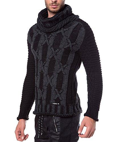Redbridge Herren Strickpullover Schalkragen Grobstrick Pulli Pullover Slim-Fit M3004 Anthrazit