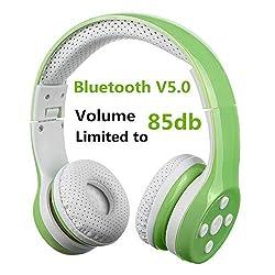 Bluetooth Kopfhörer Kinder Kabellose, Hisonic Bluetooth Kopfhörer für Kinder mit Laustärkebegrenzung Gehörschutz & Musik-Sharing-Funktion, Eingebautes Mikrofon für die Freisprechfunktion. (Grün)