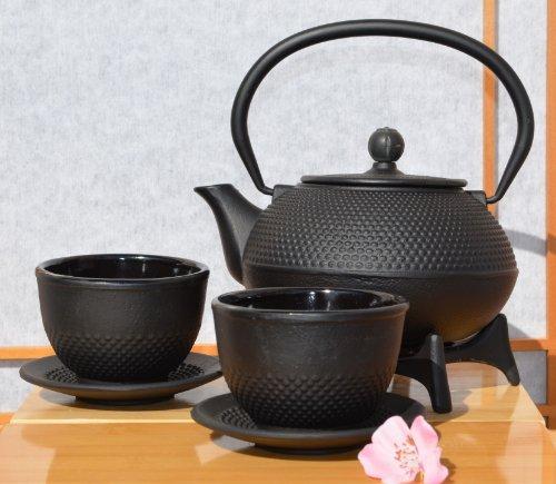 Gifts Of The Orient GOTO® Service à thé en fonte avec tasses, soucoupes, théière et repose-théière Noir 0,6 l