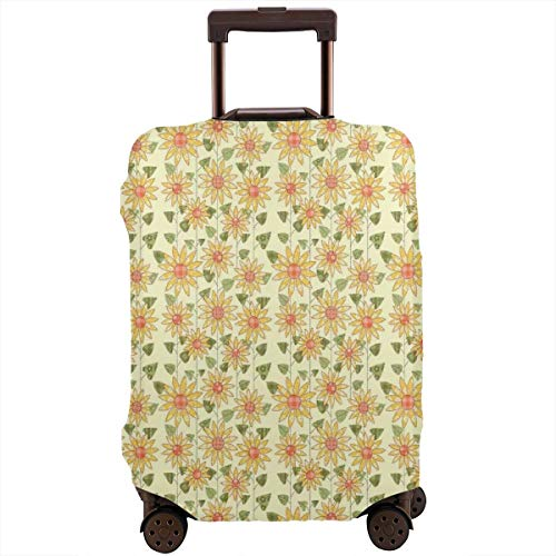 Travel Luggage Cover,Floral Nature In Patchwork Style Rustic Country Suitcase Protector -