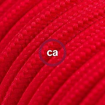 Fil Électrique Rond Gaine De Tissu De Couleur Effet Soie Tissu Uni Rouge  RM09   5 Mètres, 2x0.75