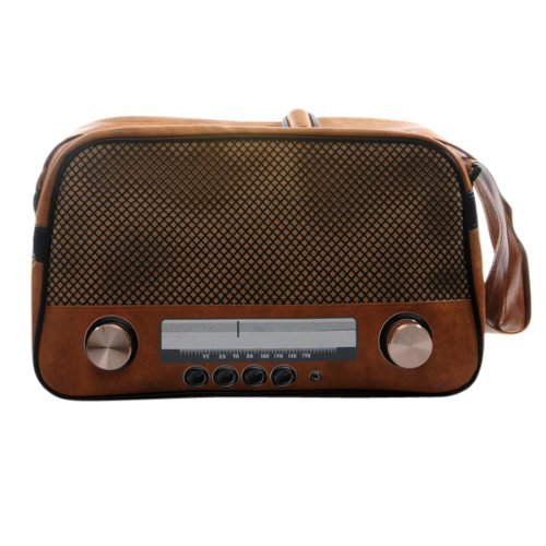 """Super Freak® Borsa """"Radio Borsa a tracolla borsa grande e orizzontale, tutti i colori. Braun-hell - Drehregler gold"""