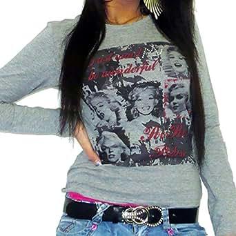 Marylin T-shirt Femme manches longues imprimŽ - Gris, M, t shirt femme,cadeau