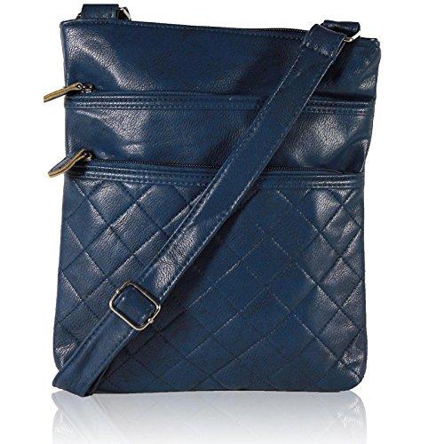 Zarla-Grande custodia imbottita, tracolla in pelle da donna con tracolla e borse Blu (Blu)