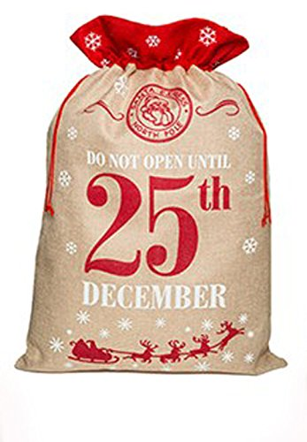 Homestreet extra large present bag, jumbo sacco di babbo natale in iuta con timbro postale tradizionale design, special delivery reindeer mail from the north pole do not open