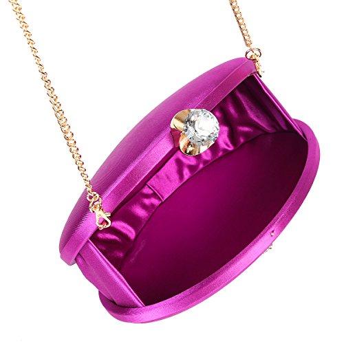 Damara Damen Satin Kristall Diamant Edle Abendtasche,Gold Weinrot