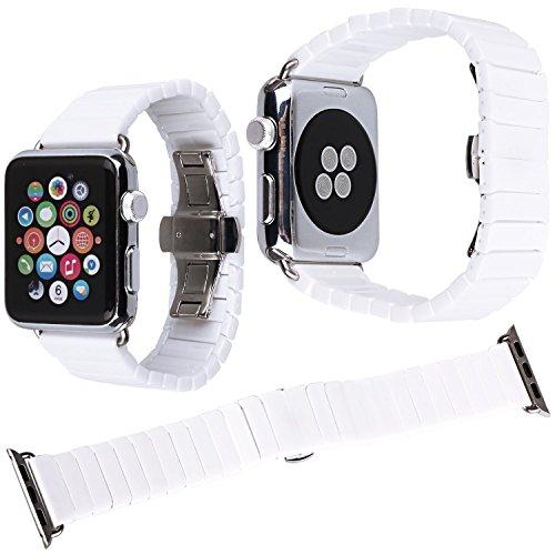 Qianyou Keramik Armband Apple Watch, 42mm Ceramic Apple Watch Armband Ersatzband Uhrenarmbänder für Apple Watch Series 3 Series 2 Series 1,Sport Edition,Nike+,Herren Frauen,Weiß-1 Row