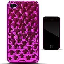 Zooky® rosa plástico escalas metálicas FUNDA / CARCASA / COVER para Apple iPhone 4/4s
