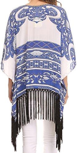 Sakkas Tatum Chemisier Poncho Haut Col en V avec Frange Nouée Blanc/Bleu Marine